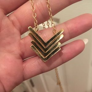 BaubleBar Jewelry - Baublebar - CHEVRON PENDANT LONG GOLD NECKLACE